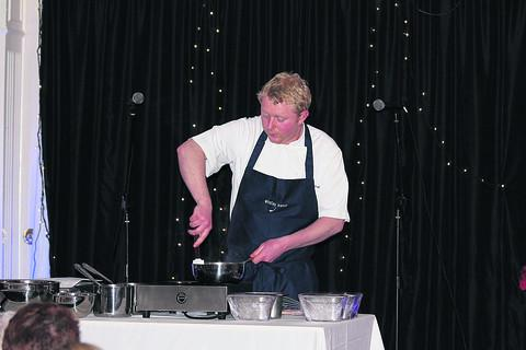 Lee Bamforth demonstrates how to make choux pastry to members of Malmesbury Cake Society.