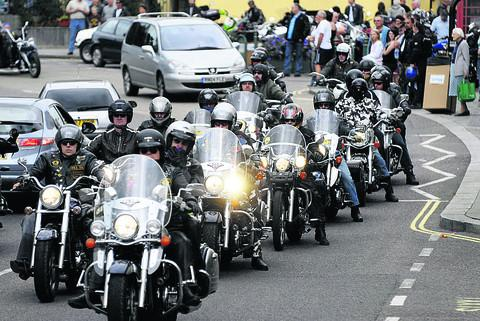 Harley-Davidsons roar in to Calne at a previous motorcycle meet
