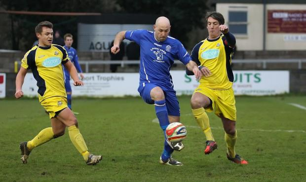 Chippenham Town striker Alan Griffin in action against Gosport (Picture by Robin Foster)