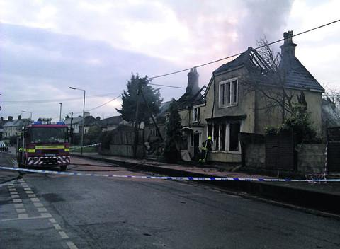 The fire has gutted the empty house in London Road