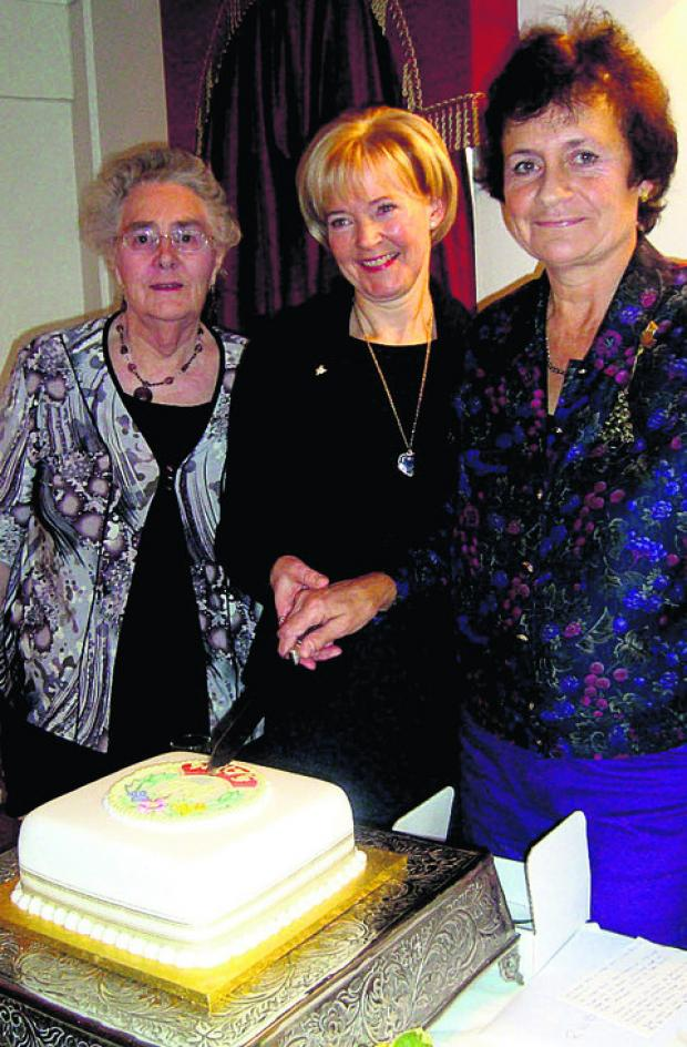Wootton Bassett Townswomen's Guild chairman Maureen Harris, left, with guests Judith Halfhead and Ann West (nee Barnett)  whose mothers co-founded the guild 50 years ago