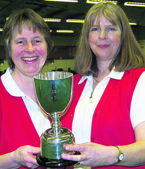 Sue Cooke (left) and Alex Jacobs after their national pairs win in 2010
