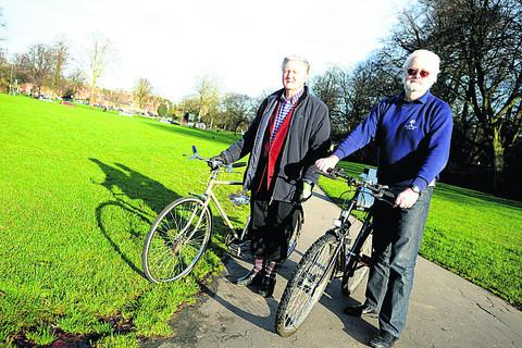 Coun Jeff Ody with Noel Woolrych on The Green pathway in Devizes. They were opposed to having lights on the footpath for a cyclepath