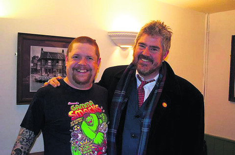 Wil Hodgson, organiser and compere of the night, with Phill Jupitus