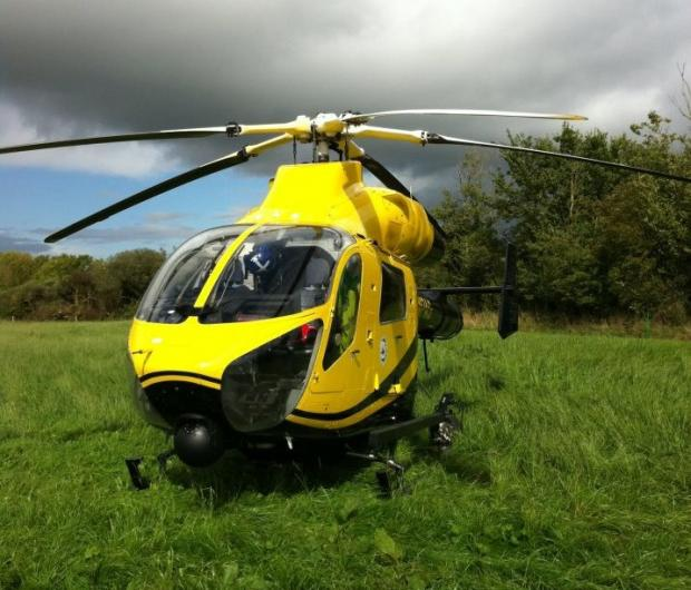 The air ambulance carried a critical-care paramedic to the scene
