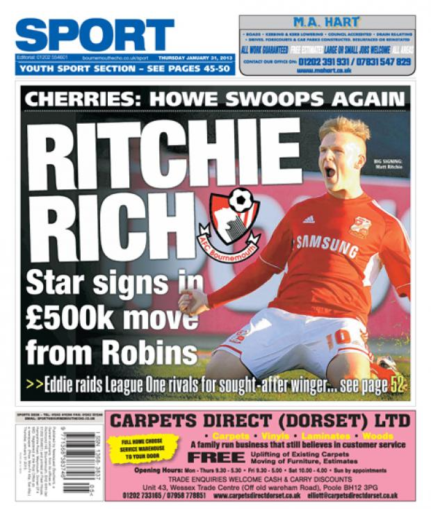 The Wiltshire Gazette and Herald: Back Page: Matt Ritchie signs for AFCB