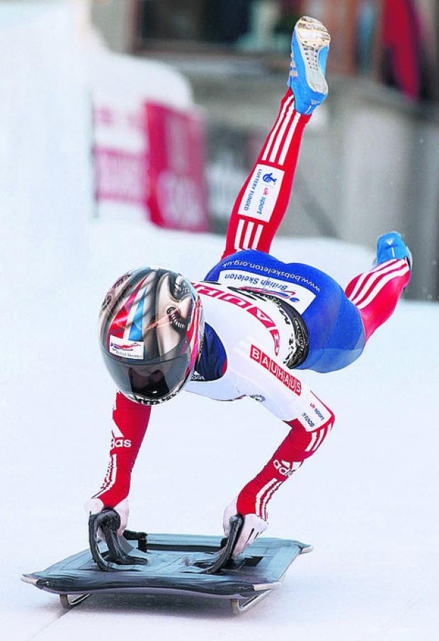 Shelley Rudman starts her first run during the women's Skeleton World Championship in St. Moritz, Switzerland this morning