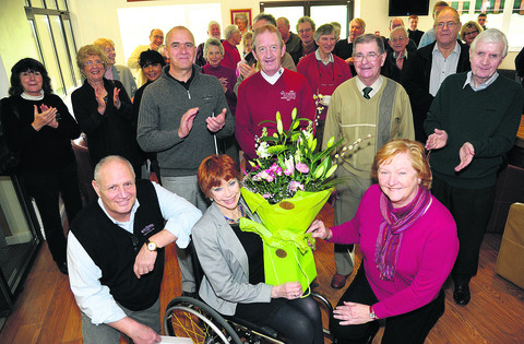 Eddy and Jennifer Shah, front from left, are bid farewell by lady captain Ann McKnee, front right, and also by, back row, from left, club captain Mark Davies, senior section captain Andy Peet and president John Hopkins