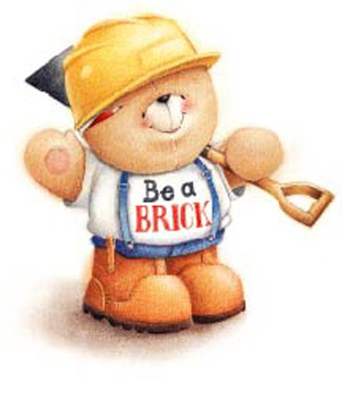 Big Ted in his Buy a Brick builder's gear