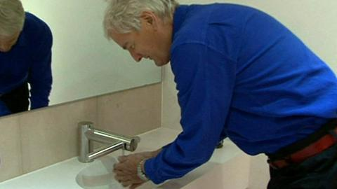 Sir James Dyson tries out the new invention