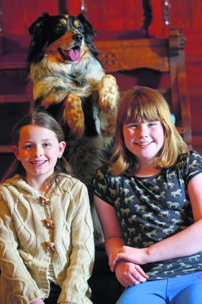The Annies – Alice Harding and Annabel Howe – with their new co-star, Dexter the dog