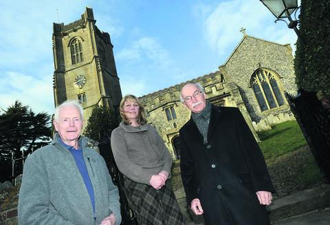 Mike Hellier, Julie McGowen and Simon Hamilton-Eddy at St Michael's Church