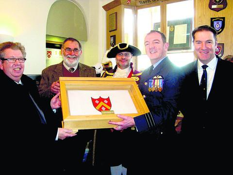 Royal Wootton Bassett museum and heritage chairman Dave Thompson, mayor Mike Leighfield, town crier Owen Collier, Wing Cdr Peter Morgan, OC 216 Sqn, and Grp Capt Michael Neville, former station commander of RAF Lyneham