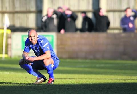 Bluebirds defender Ashley Williams looks shell-shocked after Town's 7-1 home hammering by Bideford on Saturday – which they followed up with a much-improved display in defeat against Hemel Hempstead Town on Tuesday