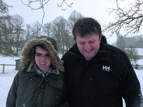 Jack Wixon, from Rowde, who underwent a major brain operation and is featured in BBC documentary Brain Doctors, pictured with his father