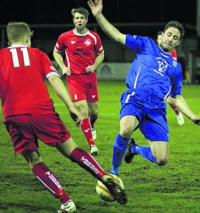 Iain Harvey launches in to a tackle against Hemel Hempstead Town