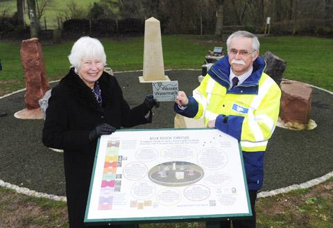 Elizabeth Devon receives the Wessex Watermark conservation  award from Keith Dispain of Wessex Water