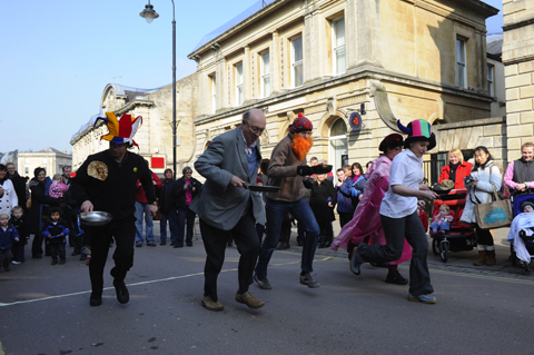 Pancake racers at last year's event in Chippenham