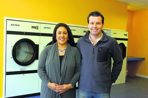 Helena and Paul Dunn at the new launderette