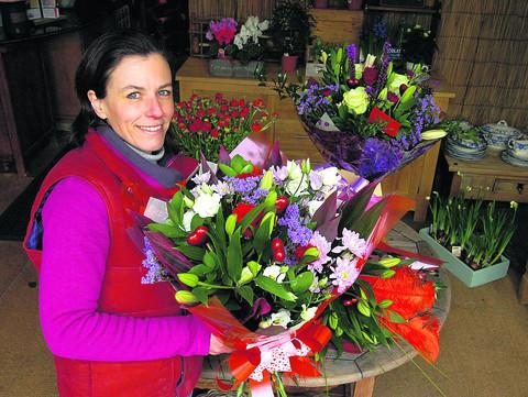 Pewsey florist Joanna Freeman advises men to steer away from bunches of red roses on Valentine's Day because they are so expensive
