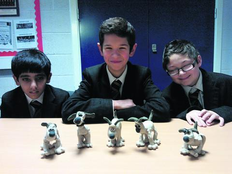Abbeyfield School pupils  Robindeep Dhaliwal, Adam Snoddy, Lewis Vincent with their Aardman Animation workshops models