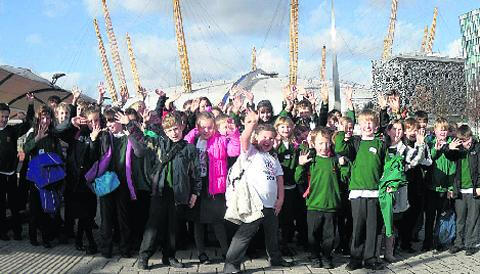 Young singers from Dauntsey's Aided Primary School near the O2 arena in London