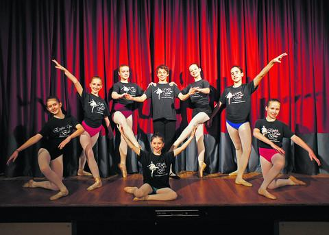 The successful ballet dancers, back row, from left, Ella Thomas, Charlotte Warner, Alice Tedds, Daniel Wiltshire, Katie Dunsden, Lucy James and Ellie Sheppard, with, front, Tara Morris. They perform Sleeping Beauty in Weston Super Mare