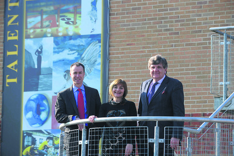 Abbeyfield head teacher David Nicholson, chair of governors Michele Blain, and co-founder of The Education Fellowship Johnson Kane