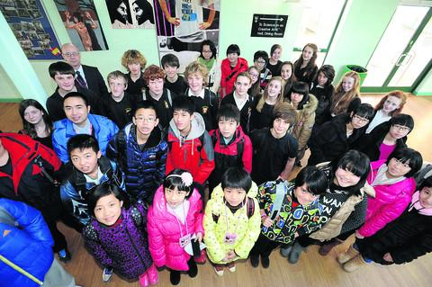Malmesbury School pupils with their counterparts from Shimen Experimental Middle School in China