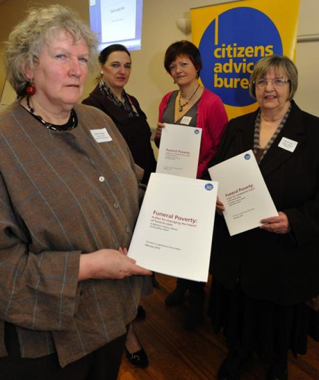 Author of a report into Funeral Poverty, Wiltshire CAB volunteer Alison Dewar (left) with Sheila Dicks, principal of Salisbury College of Funeral Services, Kirsty Field , CAB Social Policy co-ordiantor for Wiltshire and Teresa Perchard ,nat