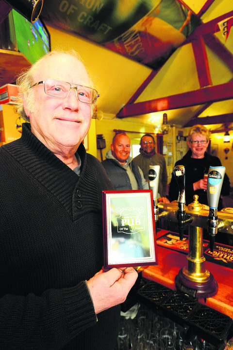 Waterfront landlord Graham Lee with his Gazette Pub of the Month award