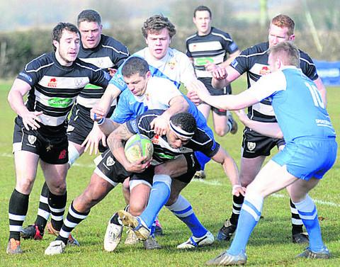 Chippenham's Kam Vaudrey goes on the charge against Weston (DV193-009)