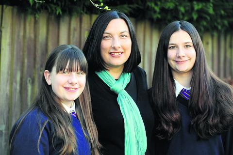 Emma Dadd with her daughters Sophie, left, and Chloe; Inset, Martin Dadd who died in February last year