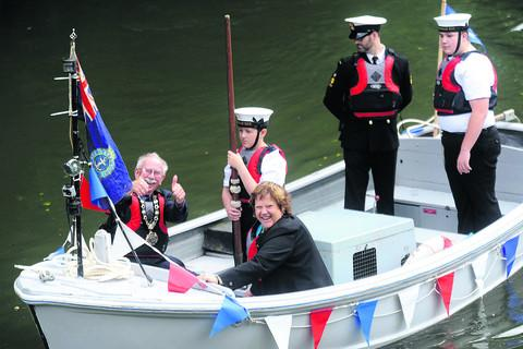 Chippenham mayor Andy Phillips, his wife Nina Phillips and Sea Cadets at last year's festival