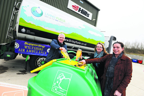 Cliff Carter, Caroline Corrigan and Katie Money-Kyrle promoting the recycled cooking oil scheme in aid of Wiltshire Air Ambulance