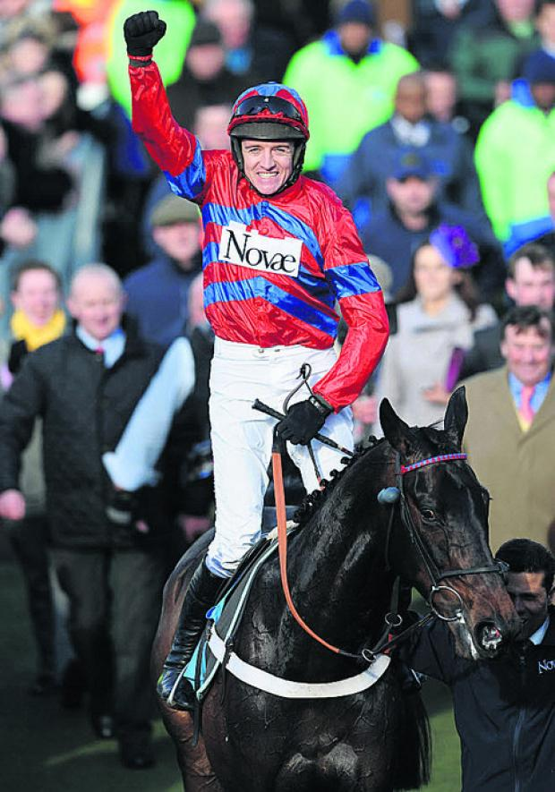 Barry Geraghty celebrates aboard Sprinter Sacre after today's win at Cheltenham