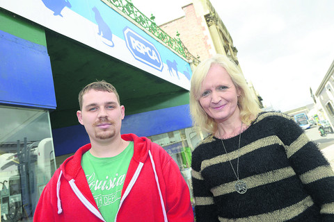 James Scarth and Tracey Hannam outside the RSPCA shop