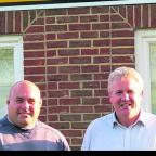 Chris Budgen (left) with Marlborough RFC chairman Gary Sharp