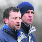 Richard Fey (left) with Town boss Nathan Rudge (right) has taken the managerial reins at Bridgwater Town