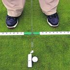 When putting, the swing length should be the same either side of the ball