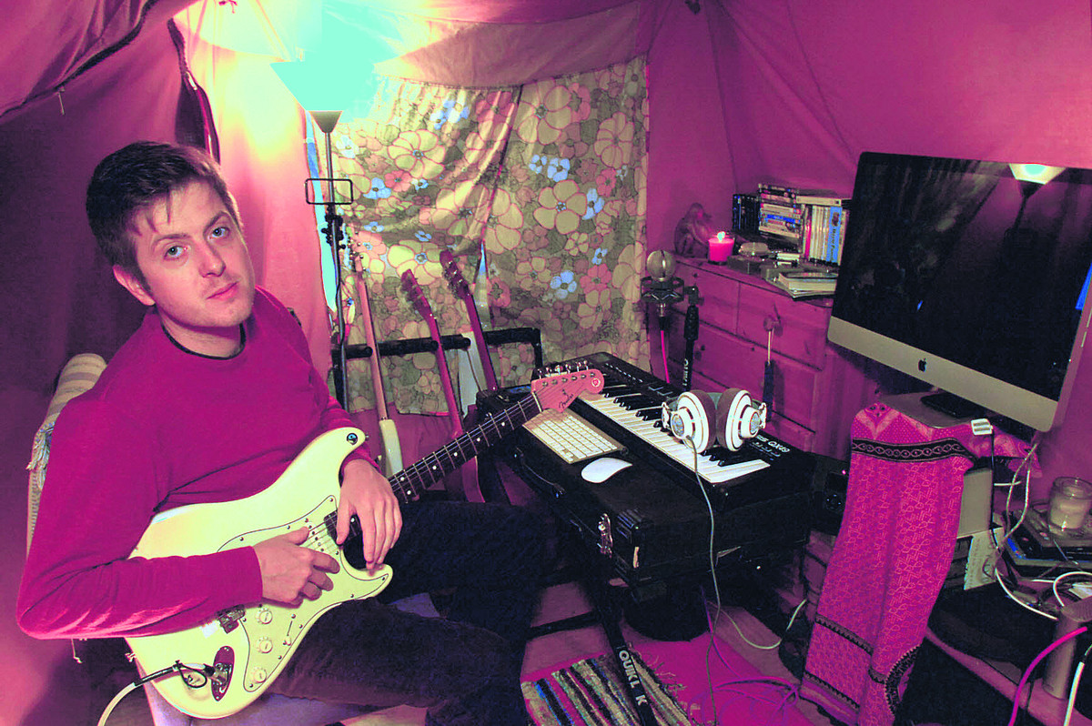 Dave Doherty in the tent where he is recording