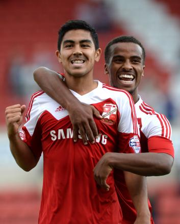 Town's Massimo Luongo (left) was superb against Crewe