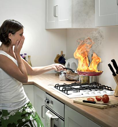 Would you know what to do? The dangers of deep fat frying and burning frying pans are being highlighted by Wiltshire Fire & Rescue Service. Picture posed by model