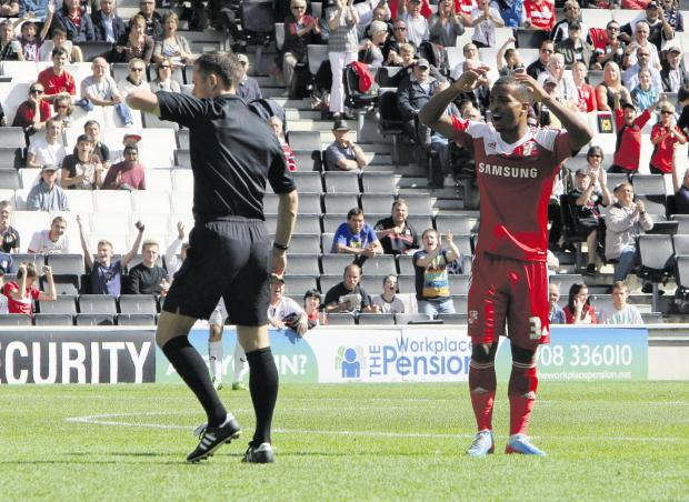 The Wiltshire Gazette and Herald: Swindon Town will appeal Nathan Byrne's red card