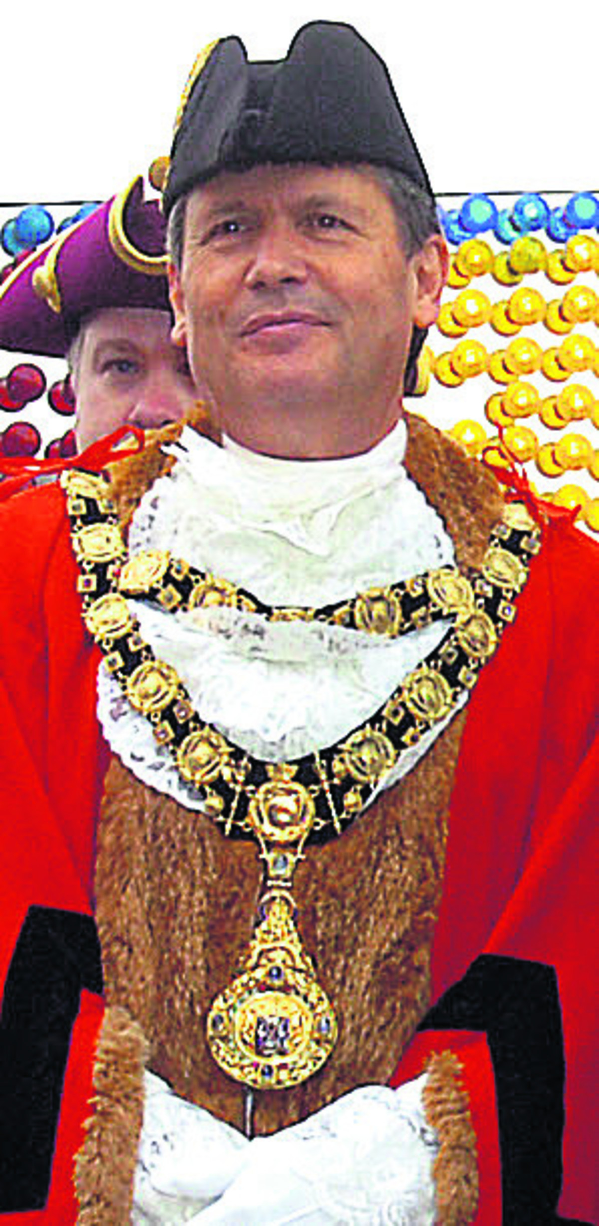 Marlborough mayor Guy Loosmore wearing the stolen ceremonial chains at the opening of the town's mop fair