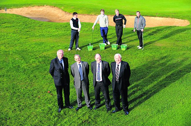 Club chairman Roger Hill, David Capel, Les Trute and Alan Pardoe with the club's golf pros