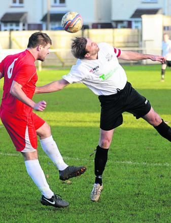 Glenn Armstrong (right) scored twice in Calne Town's 6-0 win over Portishead Town