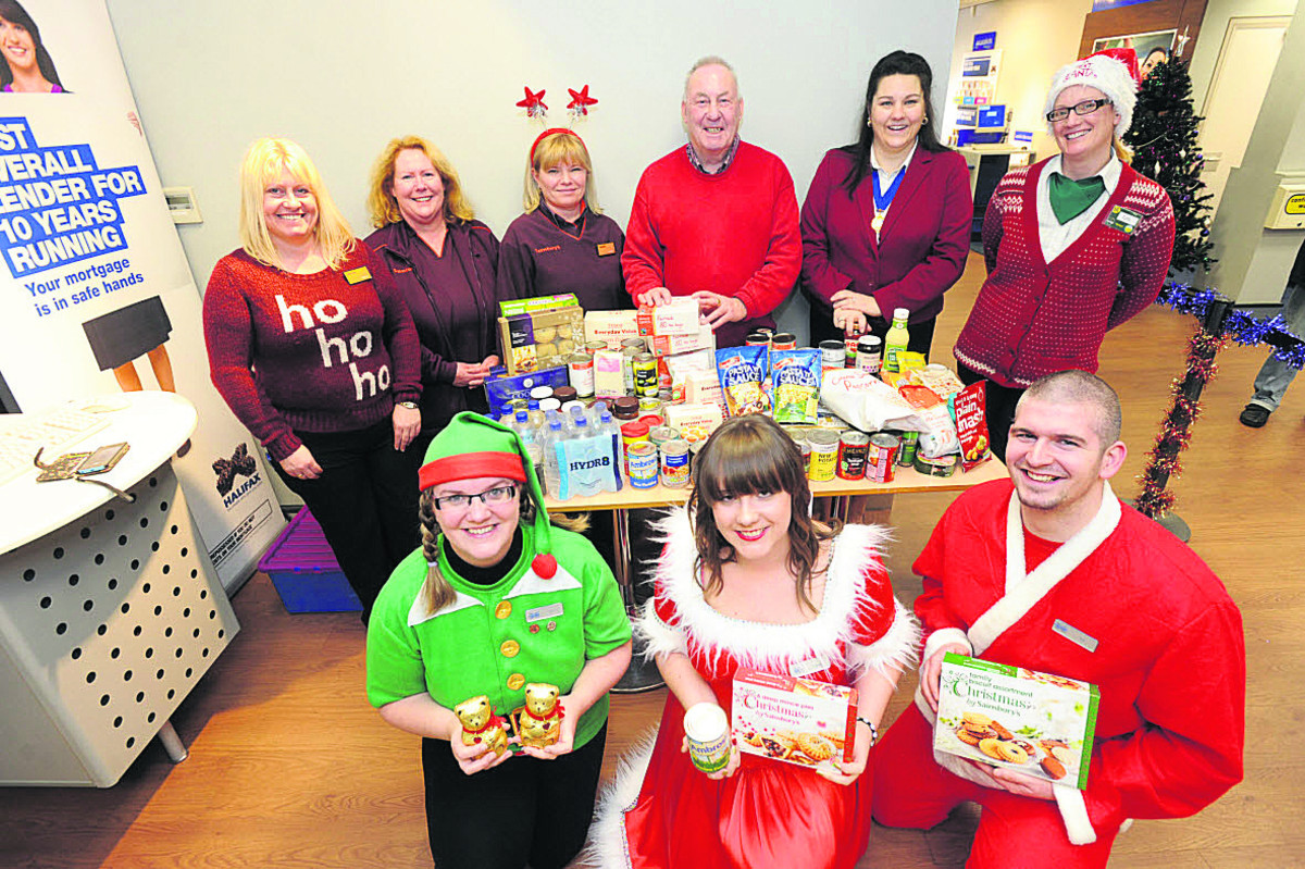 Alan Beamish, of Devizes Food Bank, and supporters before Christmas