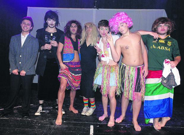 Sixth formers at Devizes School dress up for a fundraising 'beauty' contest