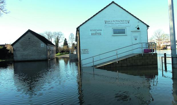 The Wiltshire Gazette and Herald: Malmesbury's Flying Monk ground was under water as floods hit just before Christmas